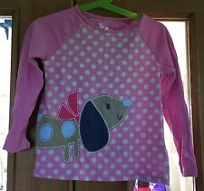 Girls Pink Long Sleeved Dog T-shirt Size 3-4 Years
