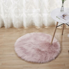 Round Fluffy Rug Shaggy Floor Mat Soft Faux Fur Home Bedroom Hairy Carpet Pink