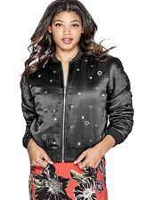 GUESS Women's Venus Embellished Bomber Jacket, Black, Size: XS