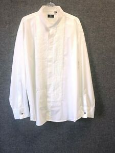"""Dobell Wing Collar Pleated Front Dress Shirt 17.75"""" TD110 BB 05"""