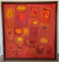 Large Vintage 60s Abstract Shapes Oil Painting Mid Century Modern Signed Deyoe