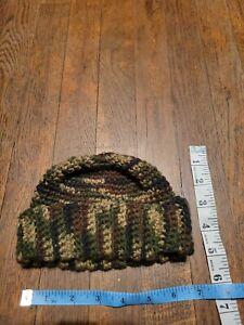 Crocheted Camouflage Newborn Baby 0 to 6 Months Beanie Hat