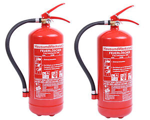 2 Stück Feuerlöscher- Pulver 6kg GP6x ABC Pulverlöscher Brandschutz Feuerschutz
