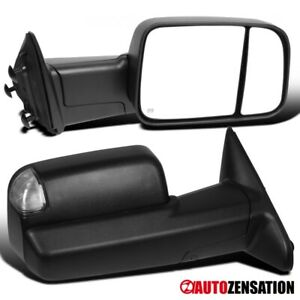 For 2009-2012 Dodge Ram 1500 Power Heated Tow Mirrors+LED Puddle+Signal Lights