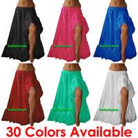 Satin Slit 12 Yard Skirt Flamenco Belly Dance Gypsy Tribal Ruffle Costume Jupe
