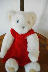 """VERMONT TEDDY BEAR WHITE BLUE EYES FULL JOINTED RED DRESS 15"""" FREE SHIPPING"""