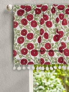 "Sunflower Hand Print Cotton Kitchen Curtains Valances Decor Window Drapes 40x18"""