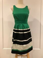 2e7583ac THE LIMITED Fit & Flare Dress Size 0 Regatta Striped Green Black White New