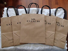 Lot of 5 COACH NEW YORK Brown Paper Small Shopping Bags ~ Great Gift Bags 10 x 8