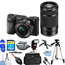 Sony Alpha a6000 Mirrorless Camera W/ 16-50mm & 55-210mm Lenses (Black) PRO KIT!