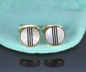 $6500 Rare Vintage Tiffany Co Germany 18k Yellow Gold Pearl Black Onyx Cufflinks