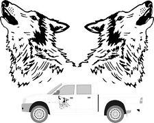 2 x Large Howling Wolf Head Car Van Truck Motorhome 4x4 Pickup Sticker,decal
