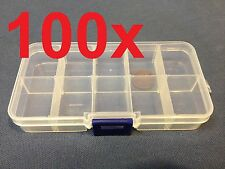 100x Clear Plastic Case Wholesale Container Nail Art Box tip Storage Compartment