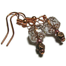 Beautiful Copper Tone Metal and Glass Bead Earrings By SoniaMcD
