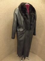 Wear Two Ways NEW Womens L Black Genuine Leather & Opossum Fur Long Trench Coat