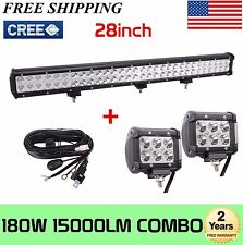 180W 28''INCH Cree LED Combo Light Bar Offroad Fog Lamp+2X4inch Pods+Wiring Kit