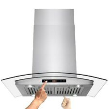 "30"" Island Mount Stainless Steel Dual Touch Panel Kitchen Range Hood Cooking Fan"