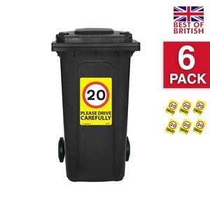 20 Mph Speed Signs [6 X Pack] - A4 Vinyl Stickers, Yellow Background Ideal Fo...