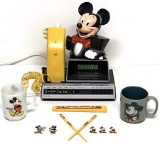 Vintage Mickey Mouse Lot, 6052 Phone Clock Radio, 2 Mickey Mugs & Chopsticks