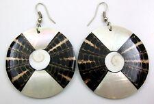 Mother of Pearl Cone Shell Shiva Eye Dangle Drop Hook earrings Jewelry BA273-A