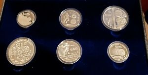 1986 MEXICO WORLD CHAMPIONSHIP FOOTBALL SOCCER 6 COIN SILVER PROOF SET IN CASE