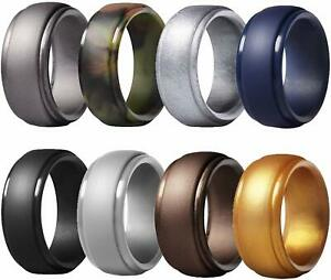 Silicone Exercise Ring for Men 8 Packs,Stackable Rubber Wedding Engagement Bands