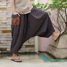 [TiKiTiKe] Hippie style Bohemian Ethnic one size man's baggy pants (Brown)cotton