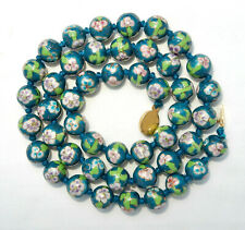 "VINTAGE 1960's CHINESE PORCELAIN BEAD NECKLACE 24"" GREEN BLUE GOLD VERMEIL CLASP"