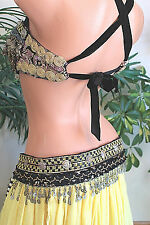 Pearl Belt Gypsy Tribal Fusion Belly Dance Size Black with Silver Trim ATS