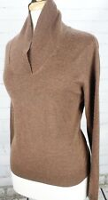 BROOKS BROTHERS Shawl Neck Wool Sweater Women's L Heathered Brown Merino Silk