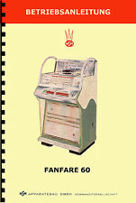 MANUALE (manual-betriebsanleitung) JUKEBOX NSM FANFARE 60 (musikbox - juke box)
