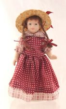 """Plastic Jointed Doll in Polka Dot Dress with Braids, Sunhat. On a Stand. 5.75"""""""