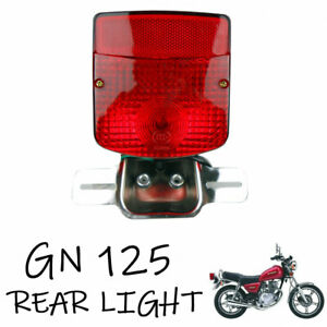 Rear Tail Brake Light Taillight Lamp Cluster Assembly Chrome Suzuki GN125 GN 125