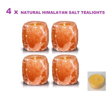 4 X HIMALAYAN SALT TEALIGHT/CANDLE HOLDERS Natural Shape-(with FREE soy candles)