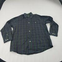Orvis Men's Shirt Large Cotton Blue Long Sleeve Button Front