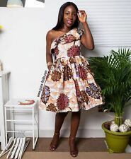 GRASS FIELDS AFRICAN ETHNIC WAX PRINT FLORAL OFF SHOULDER DRESS S SMALL 10 6 38