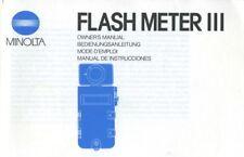 Minolta Flash Meter III Instruction Manual (English, German, French, Spanish)
