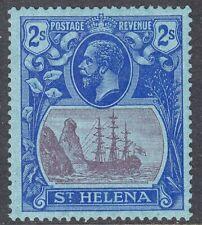 More details for st helena 1922-37 sg108 2/- purple & blue/blue vlmm