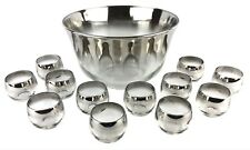 Vintage MCM Dorothy Thorpe Style Roly Poly Silver Fade Punch Set Bowl 12 Glasses