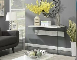 Convenience Concepts SoHo Console Table in Faux White Marble Wood Finish