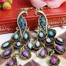 Women Chic Multi-color Rhinestone French Hook Dangle Peacock Pierced Earrings QK