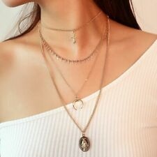 Triple Chain Layer Necklace Drop Necklace Cross Beaded Charm Necklace B72
