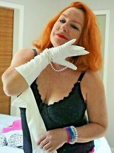 Vintage Opera Gloves Stretch ANALON HANSEN White Gloves Pin-Up Sheila E. size 8