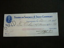 Cheque from The Franklin Savings & Trust Company, Pittsburgh, Pennsylvania -1928