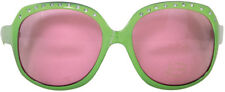 LARGE GREEN FRAMED PARTY GLASSES WITH PINK LENSES - FUN FANCY DRESS