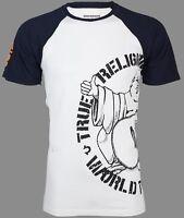 TRUE RELIGION Mens T-Shirt PART BUDDHA RAGLAN White Navy Sleeves $79 Jeans NWT