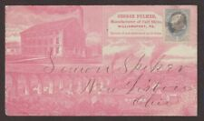 Pa: Williamsport 1886 Fulmer Calf Skins Pink Adverting Cover + Bronze Letter