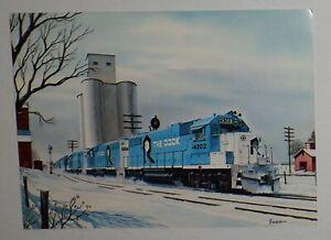 """Rock Island Railroad - 1970's Color Print - 4x5-1/2""""  -  Winter Scene"""