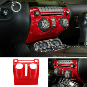 Red ABS Interior Central Control Panel Cover Kit For Chevrolet Camaro 2010-2015