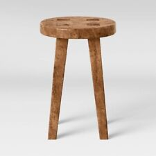 Woodland Carved Wood Accent Table Brown - Threshold™ Round